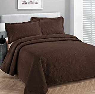 Fancy Collection 2pc Luxury Bedspread Coverlet Embossed Bed Cover Solid Coffee/brown New Over Size Twin/Twin XL
