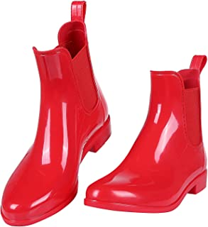 Evshine Women's Glossy Chelsea Rain Boots Shiny Short Ankle Waterproof Booties