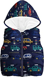 Londony▼ Clearance Sales,Little Boys Vests Outerwear Cute Car Print Faux Fur Jacket Warm Winter Hooded Clothes