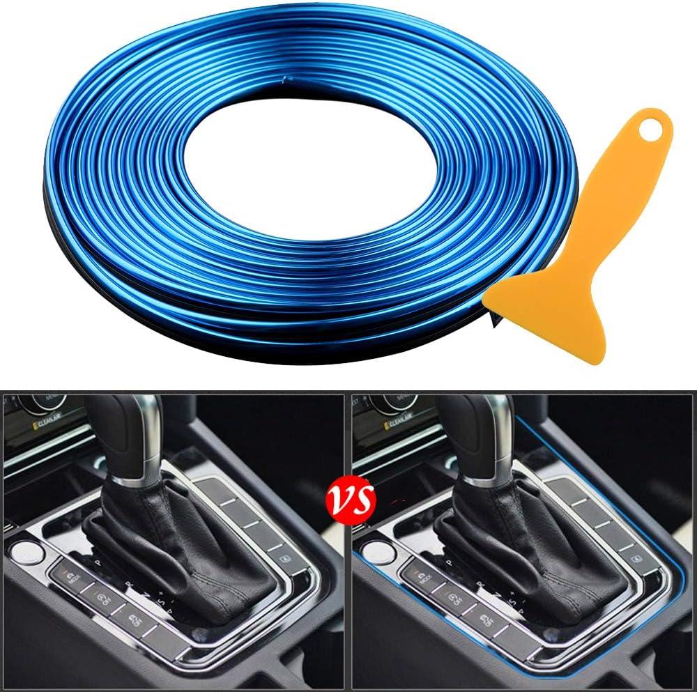 16.4ft Universal Car Gap Fillers Automobile Moulding Line Decorative Accessories DIY Flexible Strip Garnish Accessory with Installing Tool 5M - Purple Car Interior Trim Strips