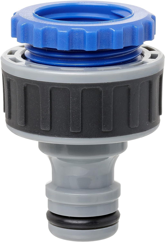 TATAY Racor de Grifo Hembra 3/4 pulgadas - 1/2 pulgadas Premium, Conector Universal, Protección Solar, Fácil Instalación, Gris - Negro