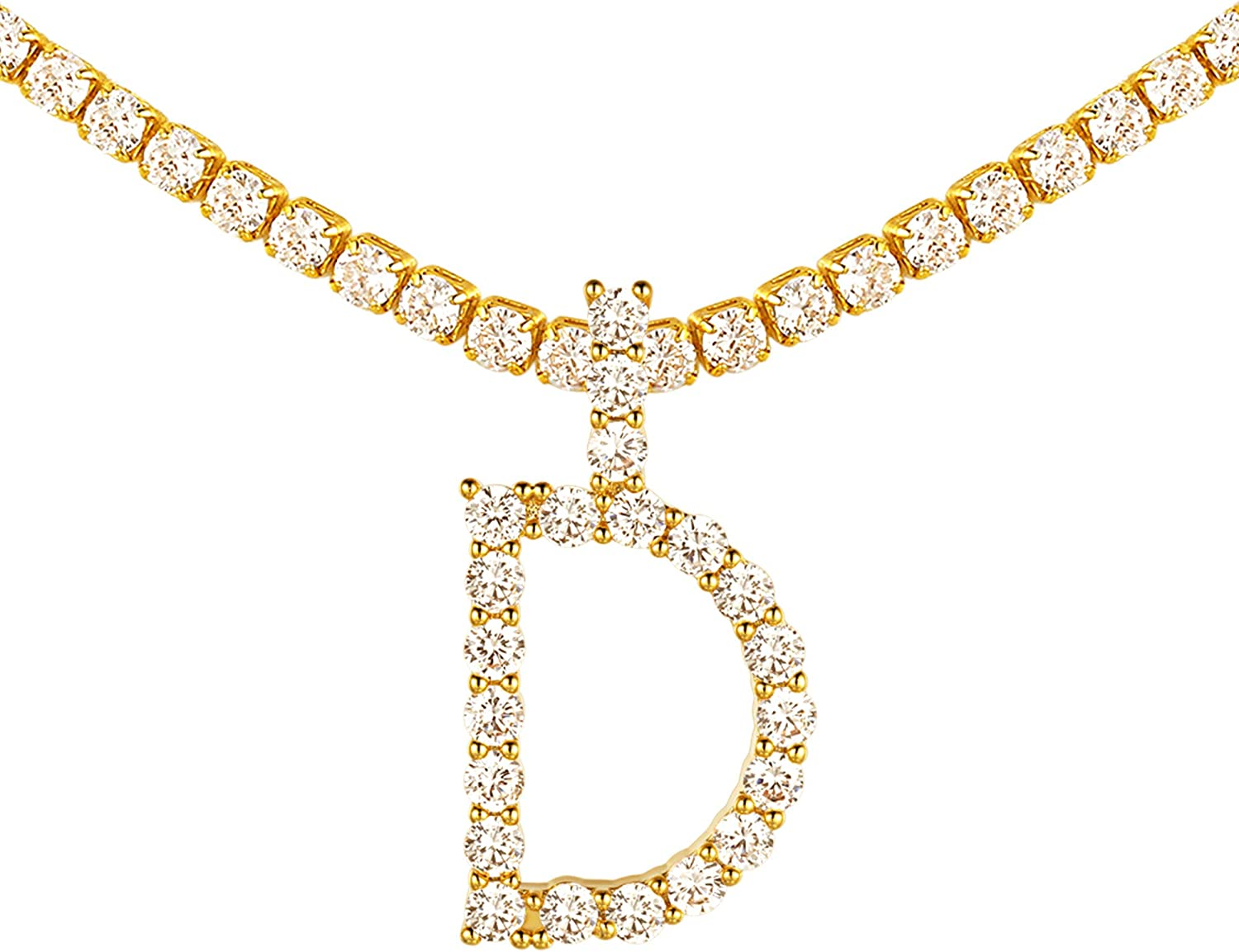 Ice Out Simulated Diamond Initial Necklace, 18K Gold Plated Cubic Zirconia Tennis Choker Chain 16