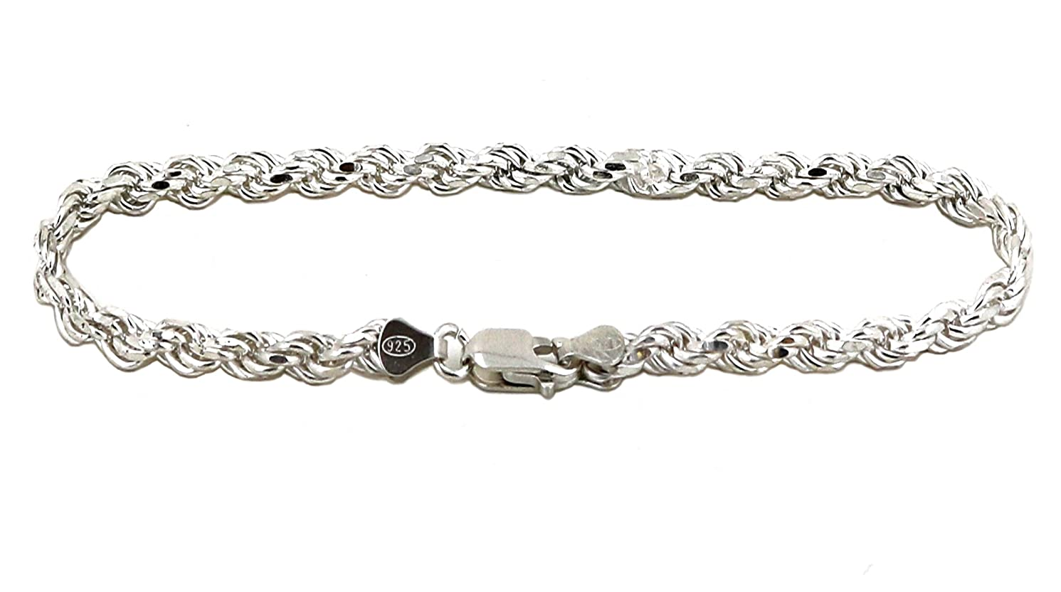 GDIOnline Solid 925 Sterling Silver Diamond Cut Rope Bracelet/Anklet for Men and Women 2.0mm to 6.0mm, 7