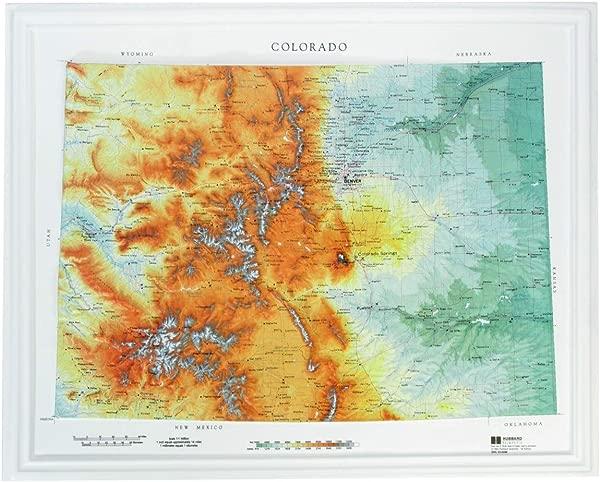Hubbard Scientific Raised Relief Map 950 Colorado State Map