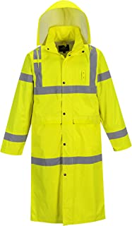 "Portwest UH445 Hi Vis Classic Rain Coat 48"" Long Waterproof Rain Jacket with Hood"