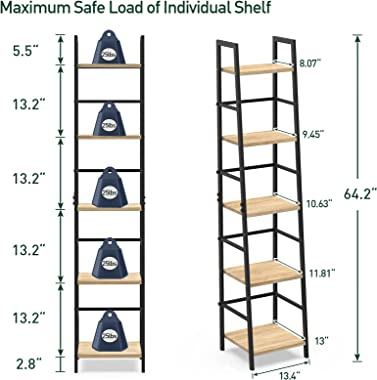 SpringSun 5-Tier Ladder Shelf Bookcase, Living Room Rustic Standing Shelf Storage Organizer, Wood and Metal Shelf for Home an