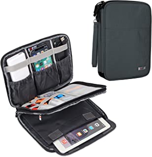 """BUBM Double Layers Electronic Accessories Case, Electronic Cord Organizer Travel Case for Cables, Plugs, External Hard Drivers and More, Compatible with Up to 7.9"""" IPad Mini, Grey"""