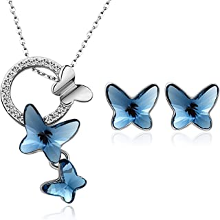 T400 Blue Butterfly Swarovski Crystal Jewelry Set Pendant Necklace and Stud Earrings ♥ Birthday Gift for Girls Women