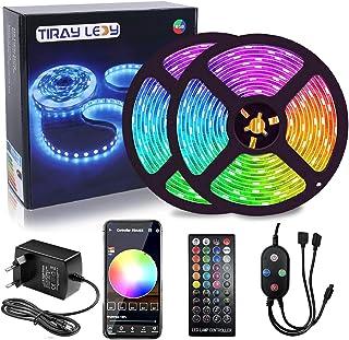 15 M LED Strip Light, Slimme Bluetooth APP-Bediening en Afstandsbediening, Dimbaar,Muzieksynchronisatie,RGB,5050,12 V,16 M...