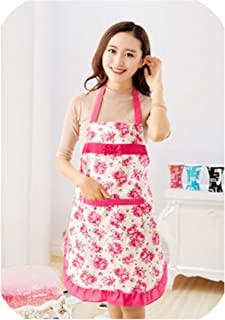 Women Waterproof Housewife Kitchen Waist Aprons Sleeveless Checked Jeanette Floral Apron with Pocket,DP