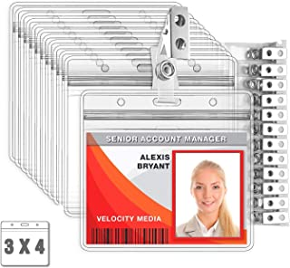 MIFFLIN Horizontal Plastic Card Holder with Metal Clip and Vinyl Straps (Clear, 3x4 Inch, 100 Pack), Waterproof PVC ID Badge Holder with Clip