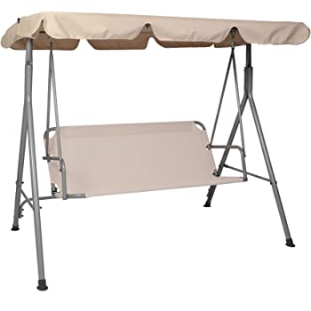 Vilobos Patio Swing,3 Person Porch Swing with Stand and Waterproof Canopy All Weather Resistant Swing Bench (Beige)