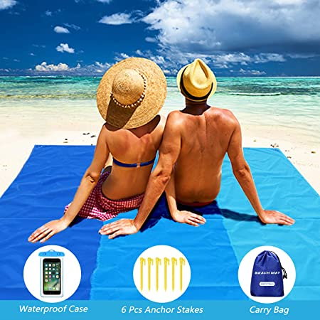 Aukor Outdoor Beach Blanket,Waterproof Picnic Blanket//Sand Proof Beach Mat 79/″x79/″ Festival Hiking Compact Pocket Blanket for Beach,Travel Camping Sports