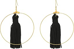 Gold Hoop with Black Tassel Fishhook Earrings