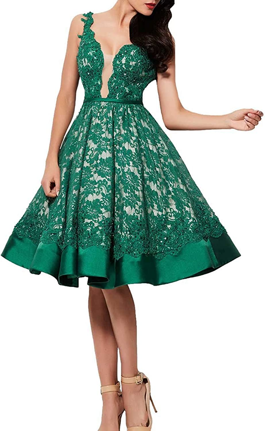 Sound of blossoming Sob Lace V Neck Homecoming Dresses Short Backless Applique Prom