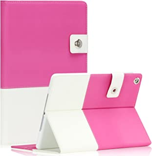 SAVEICON Hybrid leather Folio Case Cover for Apple New iPad Mini / Mini 2 / Mini 3 Case 7.9 Inch Wifi 3G 4G LTE with Built-in Stand and Card Slots Auto Wake / Sleep Smart Cover (Hot Pink)