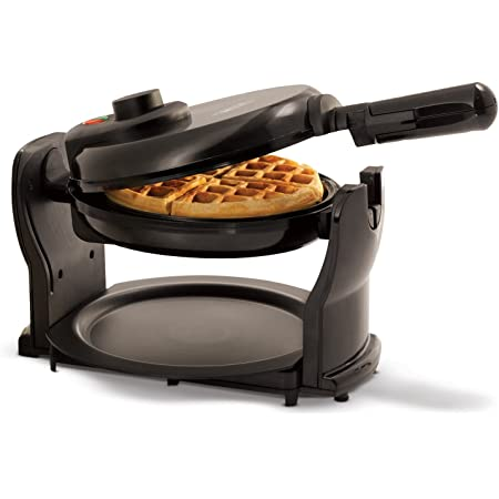 """BELLA Classic Rotating Non-Stick Belgian Waffle Maker, Perfect 1"""" Thick Waffles, PFOA Free Non Stick Coating & Removable Drip Tray for Easy Clean Up, Browning Control, Black"""