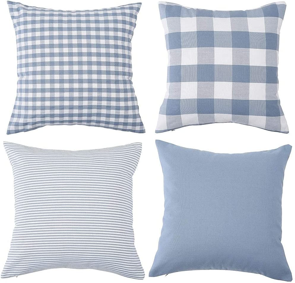 Set of 4 Decorative Farmhouse Throw Plaid Pillow Cotton depot National products Covers S