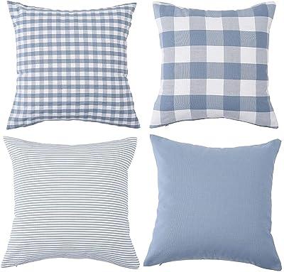 Lot de 4 housses de coussin décoratives en coton à carreaux - Motif à rayures - Pour canapé, chambre à coucher, canapé, 45 x 45 cm - Bleu clair