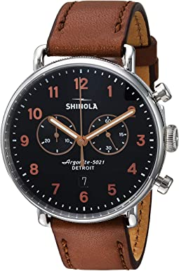 Dark Cognac Leather Strap/Black Dial