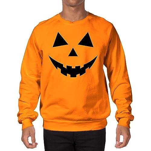 Adult Pumpkin Face Funny  Humor  Costume Orange Crewneck Sweatshirt