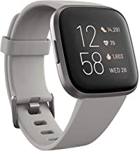 Fitbit Versa 2 (NFC), Health & Fitness Smartwatch with Heart Rate, Music, Sleep & Swim Tracking, One Size (S & L Bands Included), Stone/Mist Grey [Pre-Order]