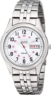 Solar Mens Watch - White Dial - Stainless - Railroad Approved - Day-Date