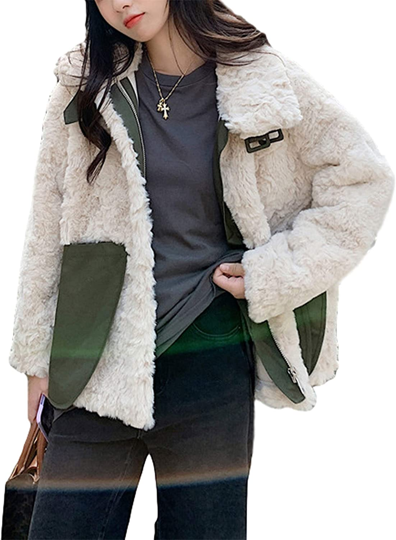 Qiaomai Womens Winter Lapel Zip Up Buckle Pocket Faux Shearling Shaggy Jacket Coat