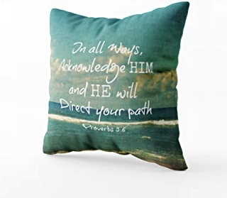 Musesh bible verse quote with ocean lumbar pillow Cushions Case Throw Pillow Cover For Sofa Home Decorative Pillowslip Gift Ideas Household Pillowcase Zippered Pillow Covers 18X18Inch