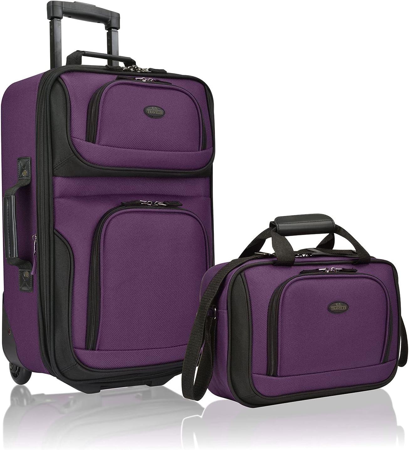 Elegant U.S. Traveler Cheap SALE Start Rio Rugged Fabric Set Luggage Carry-On Expandable