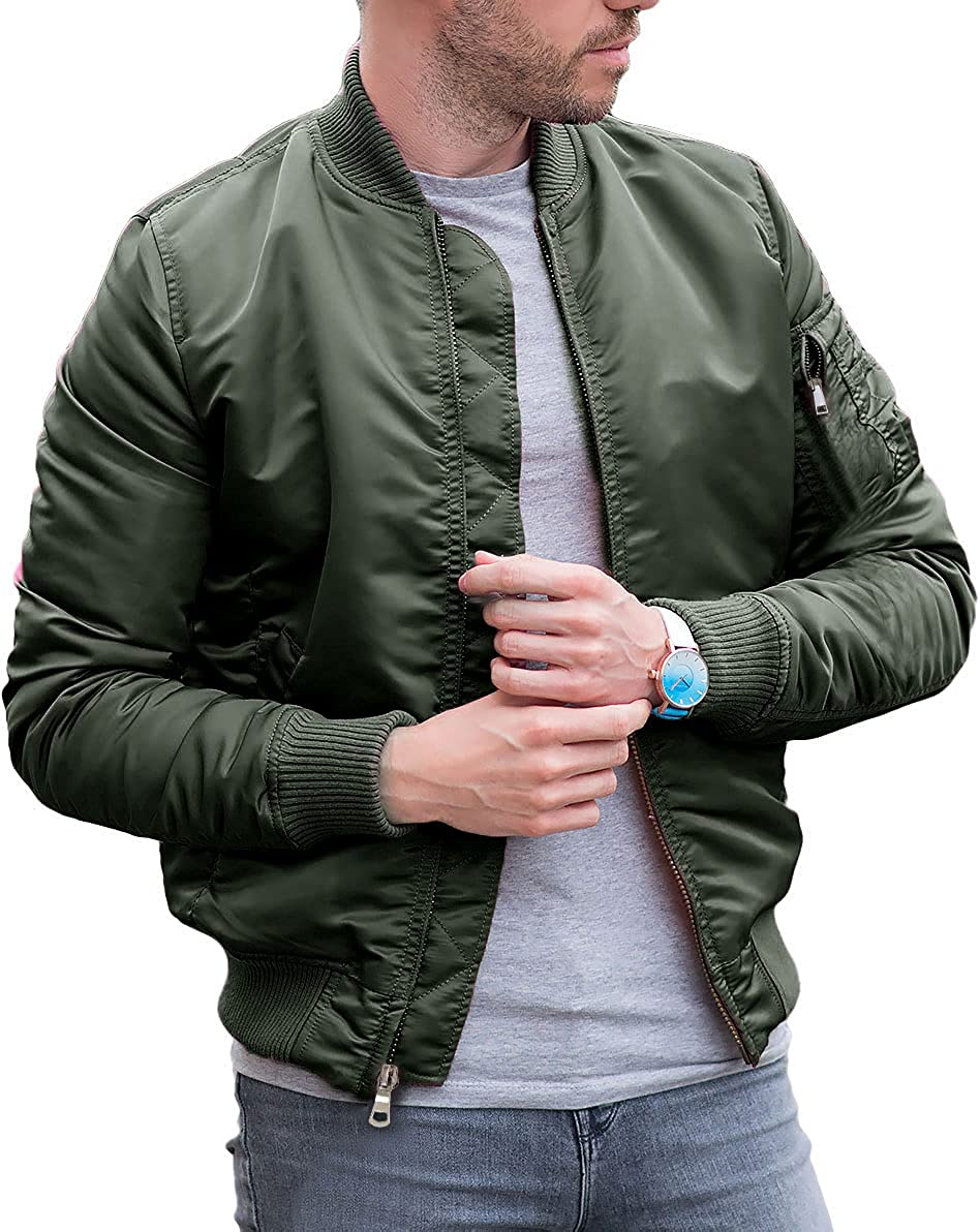 Lakimani Mens Cotton Quilted Bomber Jacket Insulated Winter Warm Thick Jacket with Full Zip