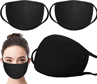 3 Pack Unisex Face Shield ,face covering with Comfortable Earloop,Individually Wrapped,Black Cotton, Washable,Reusable Cloth