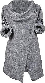CUPSHE Women's Asymmetric Hem Split Wrap Sweater Poncho Coat