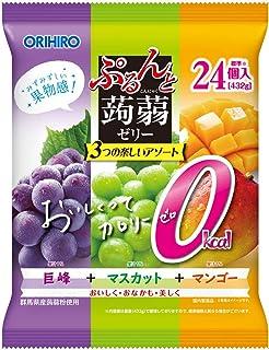 オリヒロ ぷるんと蒟蒻ゼリーパウチ 大袋 カロリーゼロ 巨峰+マスカット+マンゴー 24個