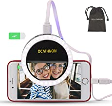 Ocathnon Selfie Ring Light LED Circle Lights Cell Phone Laptop Camera Photography Video Lighting Clip On Rechargeable 1500mAh Support Selfie & Charge Phone Compatible iPhone Xs Samsung