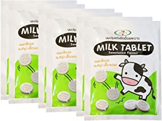 Milk Tablet ROSCELA Thai Brand Sweetened Flavour Candy 20 g. (Pack of 6) BY POJ SHOP