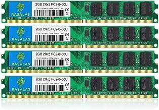DDR2 800, Rasalas DDR2 8GB Kit (4X 2GB) DDR2-800 Udimm PC2-6400 2RX8 1.8V CL6 240-Pin Non-ECC Unbuffered Desktop RAM Memory Modules