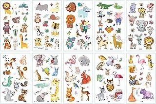 Qqinghan 10 stks/partij Kids Tattoo Sticker Dieren Cartoon Horse Tattoo Voor Kinderen Kinderen Tattoo Bear Lion Rainbow Un...