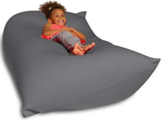 Big Squishy Portable and Stylish Bean Bag Chair, Medium, Gray