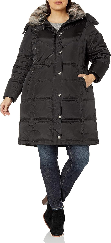 London Fog Women's Plus-Size Mid-Length Faux-Fur Collar Down Coat with Hood