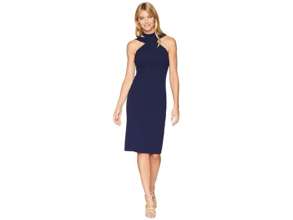 Bebe Bodycon Halter Dress (Navy) Women