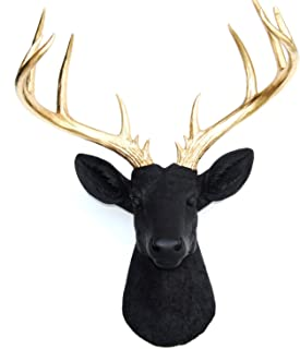 Near and Deer 14-Point Fake Deer Head - Large Faux Taxidermy Wall Mount - Urban Cowboy Chic Décor - Black/Gold