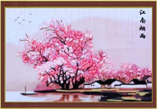 Blooming Sunflower Silk Ribbon Embroidery 3D Canvas Painting Satin Cross Stitch kit Needlework Handcraft Gift DIY Home,Without Frame,Without Circle