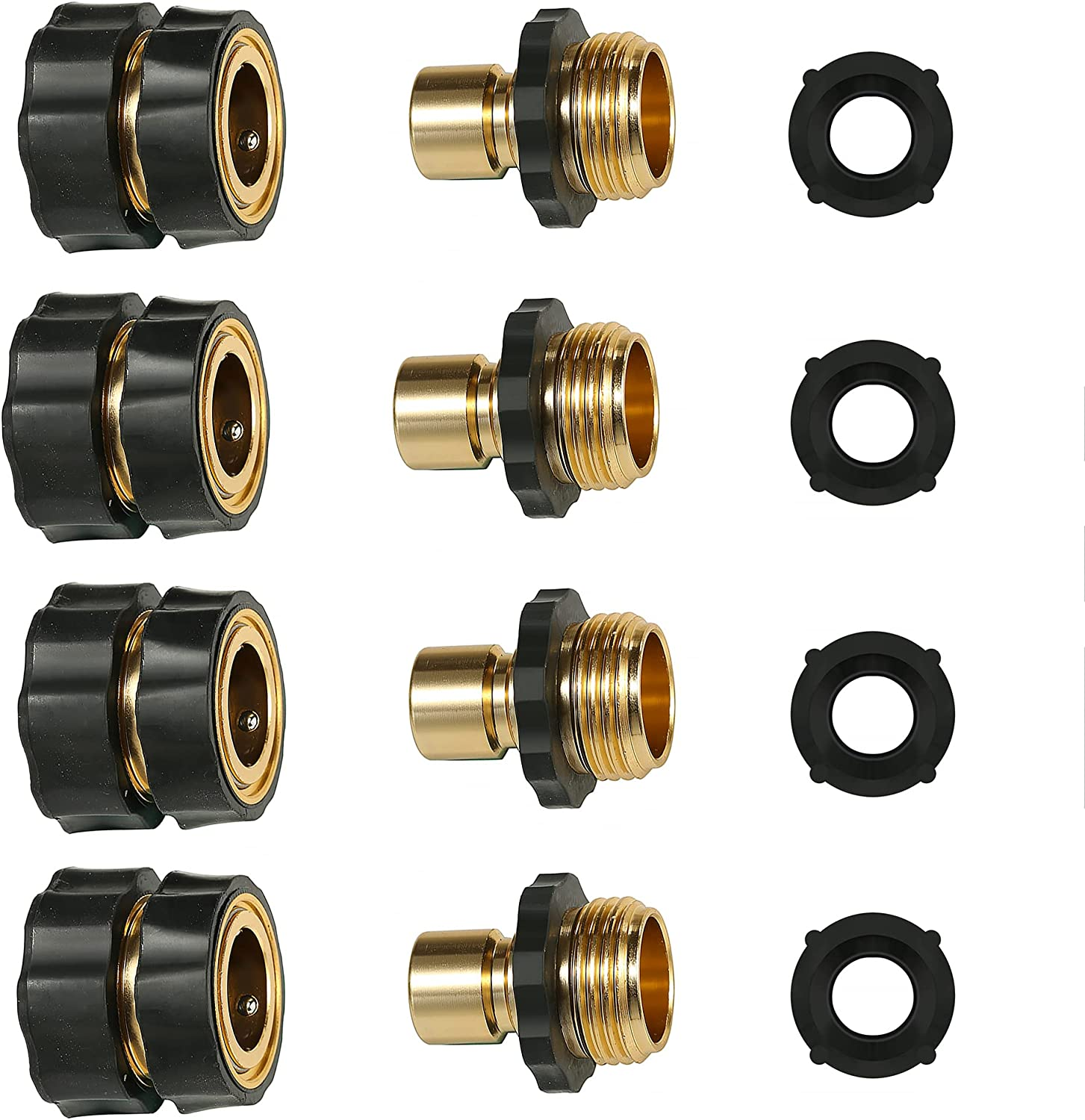 CrocSee 3/4 Inch Garden Hose Quick Connect, Male and Female Water Hose Connectors Fittings, 4 Set