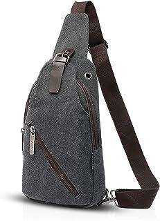 FANDARE Vintage Rucksack Sling Bag Umhängetasche Messenger Tasche Schultertasche Reisen Crossbady Bag Sporttasche Frauen/Herren Segeltuch Schwarz