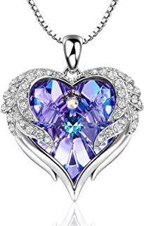 NEWNOVE Wings of Angel Love Heart Necklaces for Women Made with Swarovski Crysta