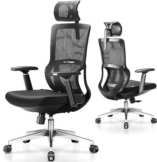 MFAVOUR, Ergonomischer Bürostuhl, Schreibtischstuhl, Drehstuhl mit Verstellbarer Kopfstütze und 3D Armlehne, Höhenverstellung und Wippfunktion,…