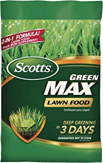 Scotts Green Max Lawn Food - Lawn Fertilizer Plus Iron Supplement Builds Thick, Green Lawns - Deep Greening in 3 Days - Covers 10,000 sq. ft.