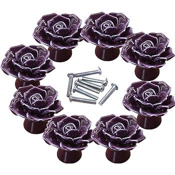 Vintage Chic Rose Ceramic Handle Knob Cupboard Drawer Cabinet Shabby Flower purp