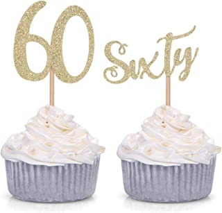 24 Counts Glitter Sixty and Number 60 Cupcake Toppers 60th Birthday Celebrating Party Decorations (Gold)